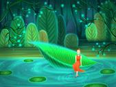 神秘森林里的少女图片