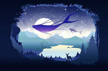森林中的鲸鱼图片