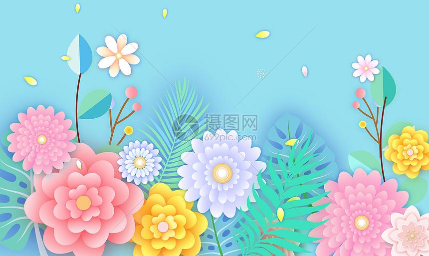 剪纸风格花卉背景图片