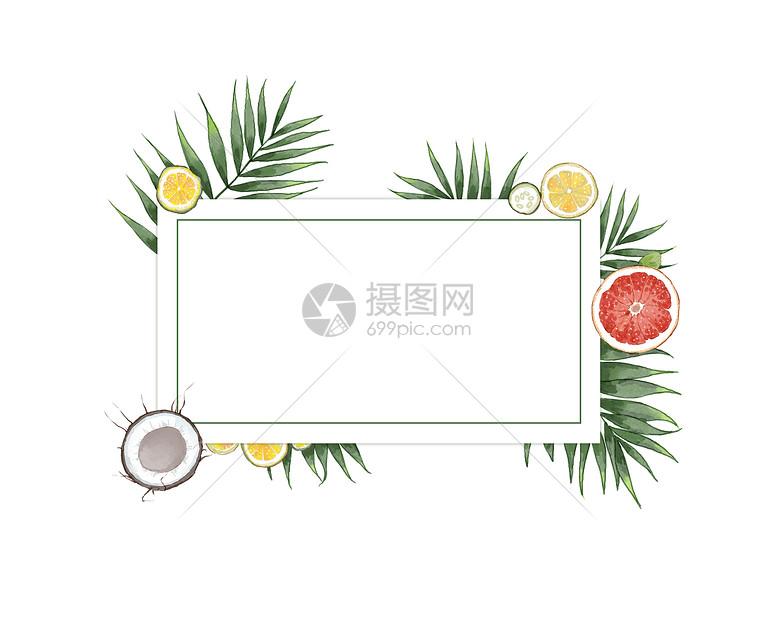 小清新装饰框背景插画图片
