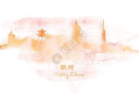 杭州水彩插画图片