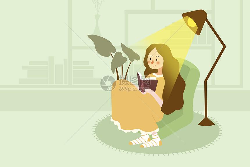 小女孩的世界读书日图片