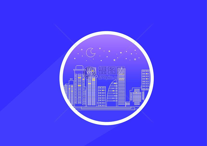 夜晚的城市图标图片