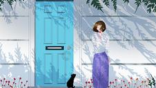 门边的女孩图片