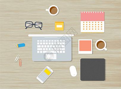 商务办公桌办公用品系列图片