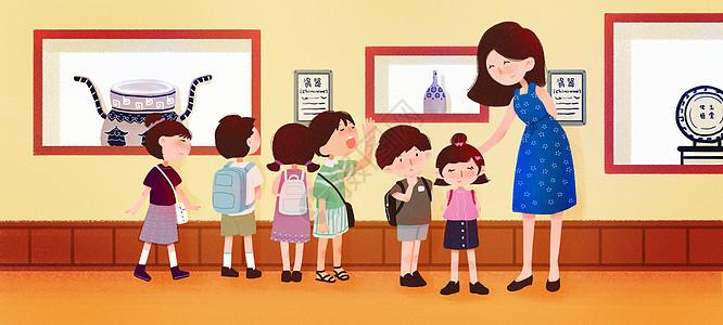 带学生参观博物馆图片
