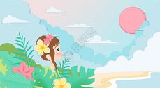 剪纸风海边女孩创意插画图片