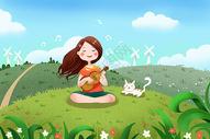女孩坐草地上唱歌图片