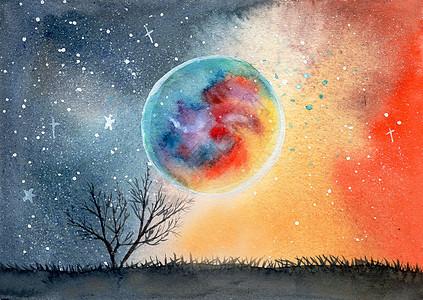 手绘立体水彩星球