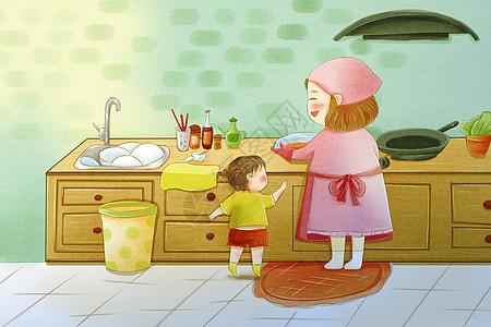 我和妈妈在厨房图片