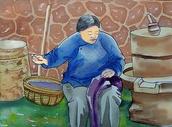 老母亲缝衣服图片