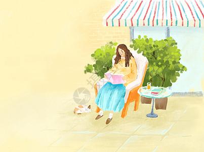 女孩读书插画高清图片