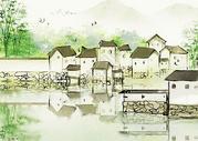 水墨乡村背景图片