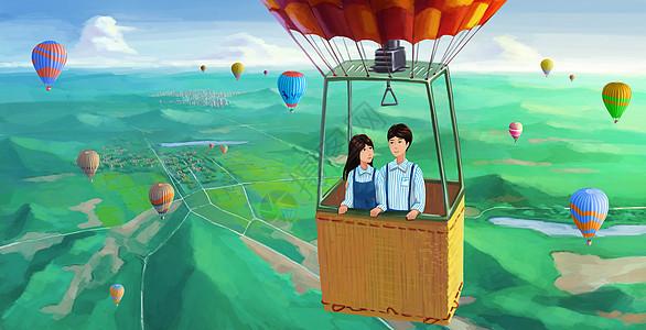 热气球上的爱情图片