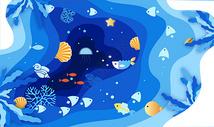 海洋生物剪纸风格图片