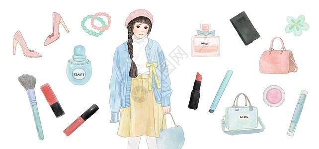时尚女孩背景素材图片