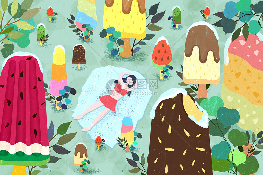 冰凉一夏冰淇淋的夏天图片