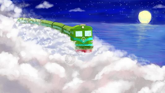 夜晚运行的火车图片