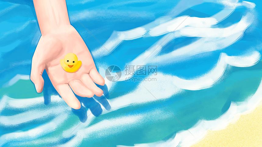 清新夏季海边小黄鸭图片