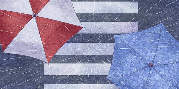 俯视雨伞马路图片