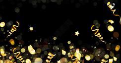 黑色金黄色彩带广告背景图片