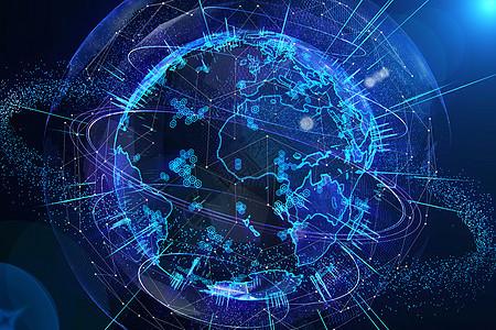 科技全息粒子地球图片