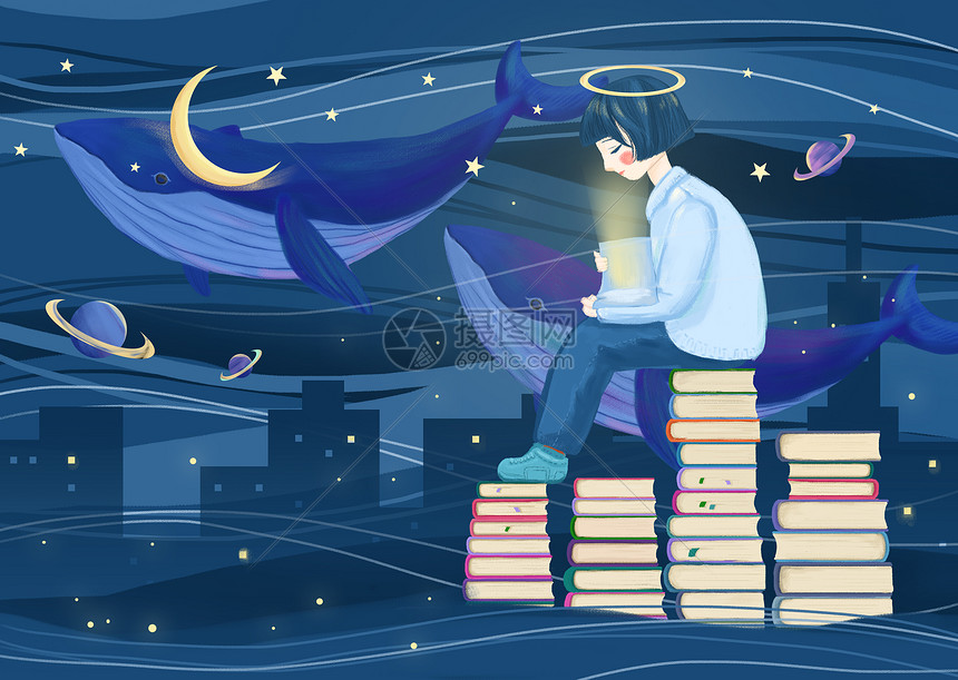 夜晚看书的小女孩图片