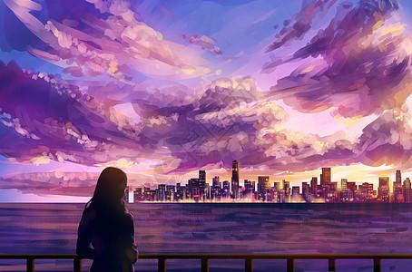 夏日夕阳-城市景观图片