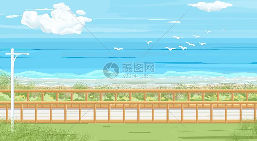 小清新夏日海边场景插画图片