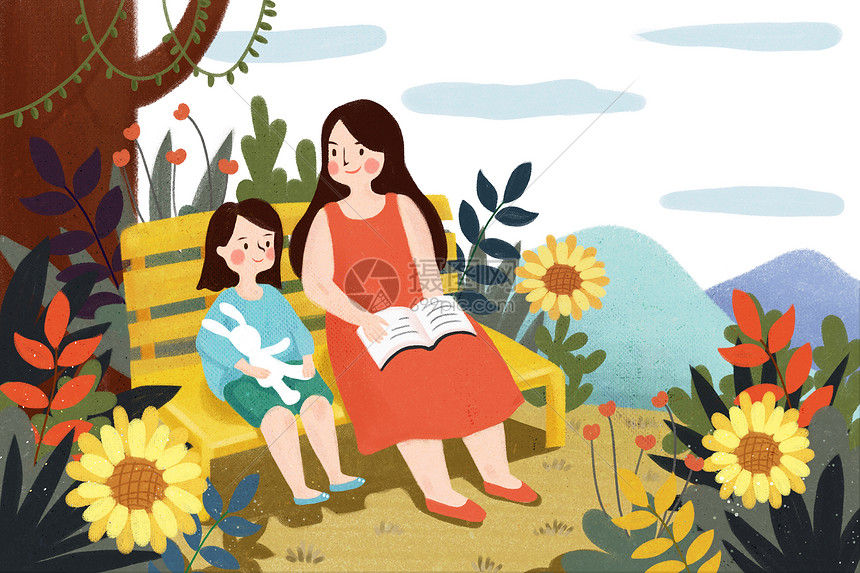 母亲给孩子读书图片