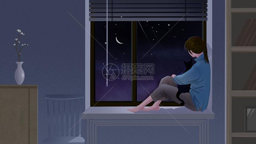 窗台上的女孩图片