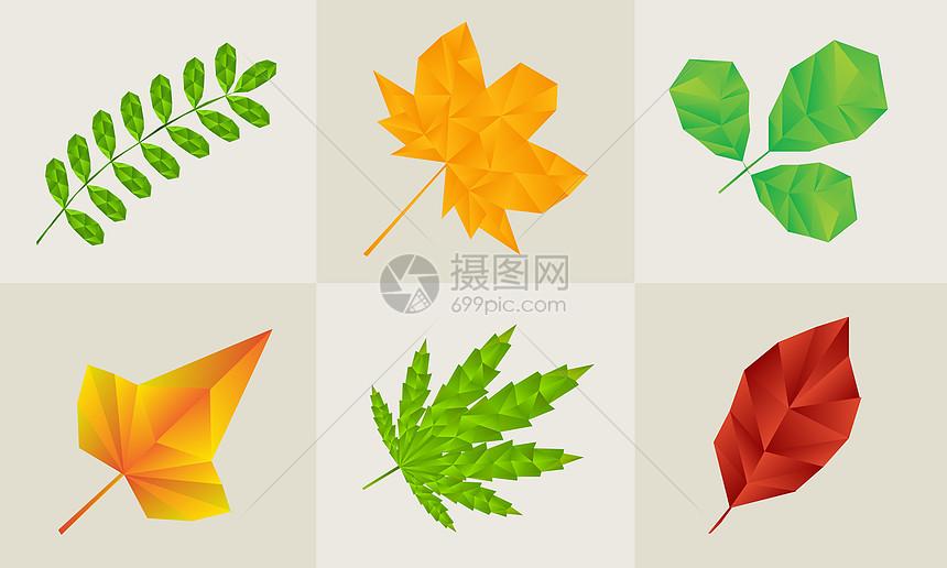 低多边形叶子图片