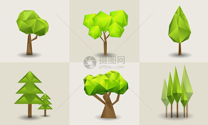 低多边形绿树图片