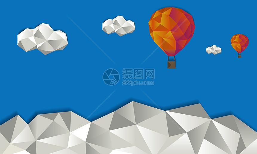飞跃高山的热气球图片