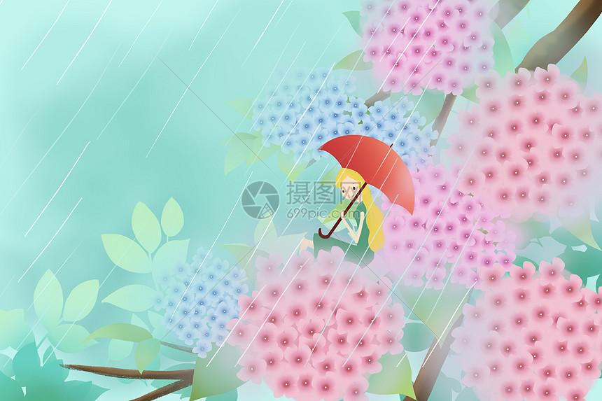 绣球花从里的少女图片