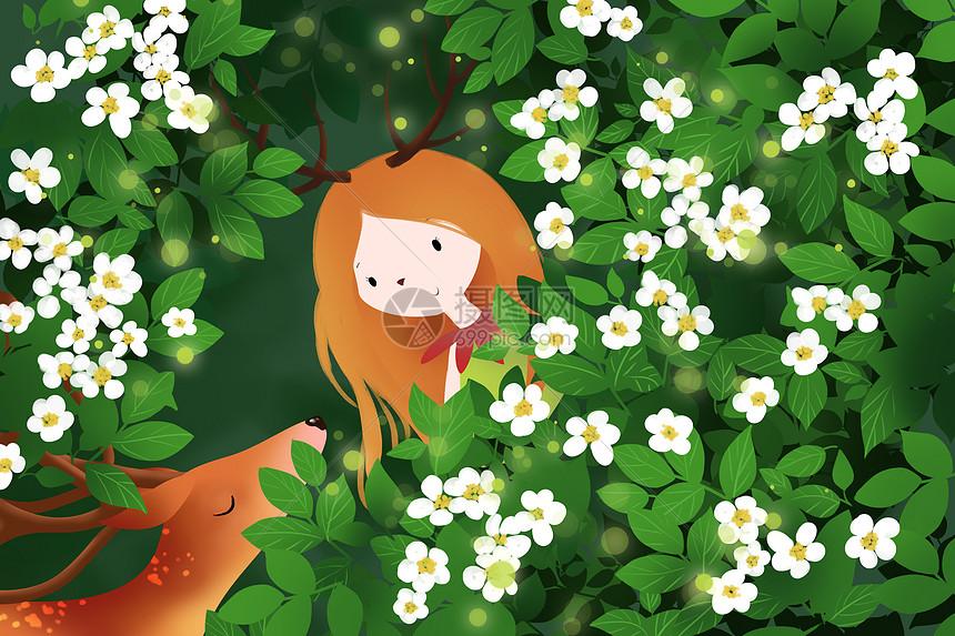 花丛里的鹿少女图片