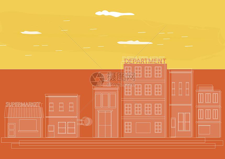 撞色拼接矢量建筑创意设计图片