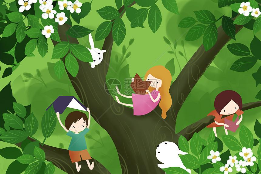 树上阅读图片