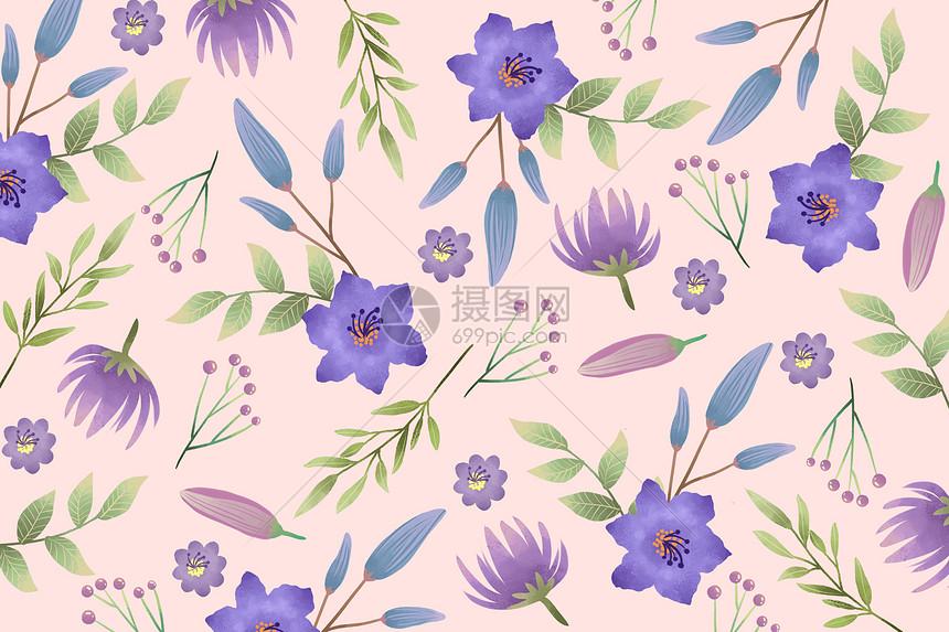粉紫色小清新花卉元素背景图片