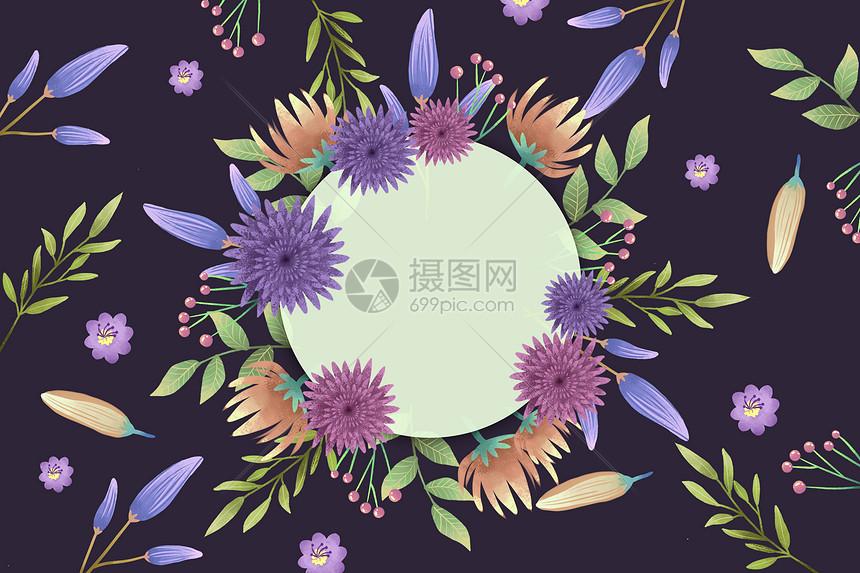 黑底粉紫色花卉圆形边框背景图片