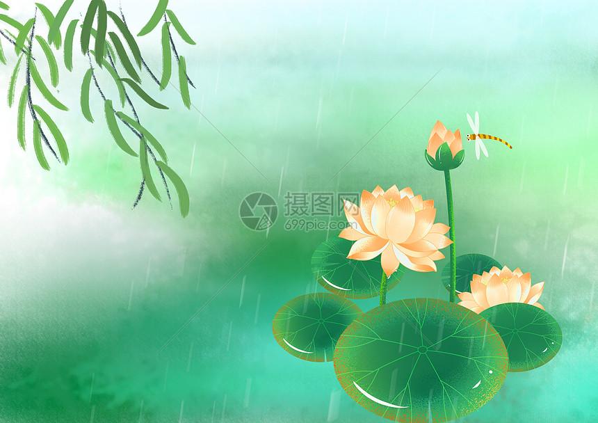 绿意满春水图片