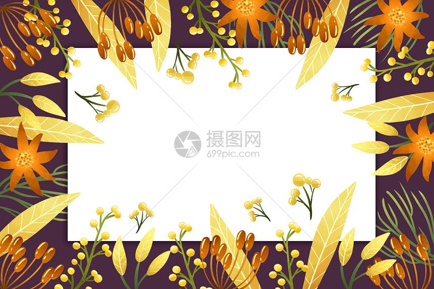 黑底黄色植被果实图案图片