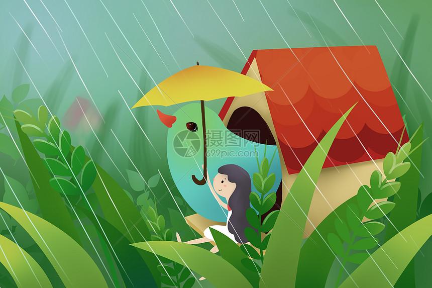 雨中的小鸟和女孩图片