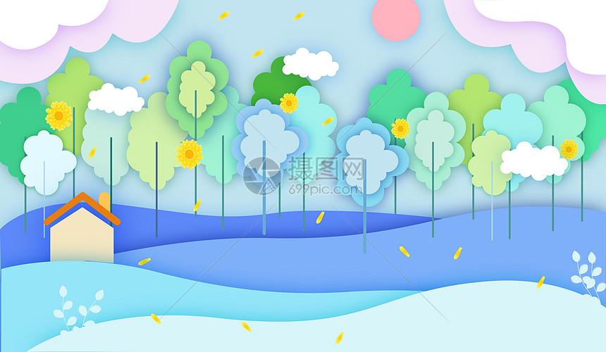 绿树剪纸背景图片