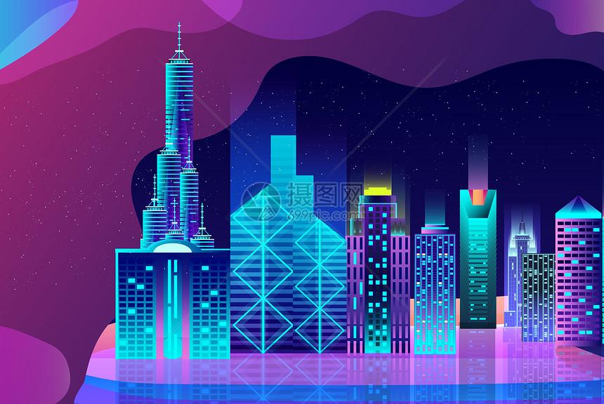 夜晚城市风光图片