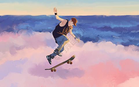 滑板少年图片