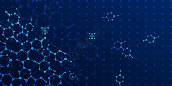 科技蓝色分子背景图片