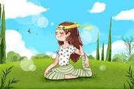 户外瑜伽插画图片