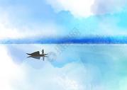 山水一抹蓝图片
