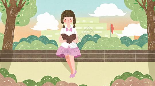 学生校园读书学习插画图片